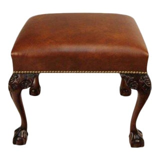 Chippendale Carved Mahogany Leather Bench
