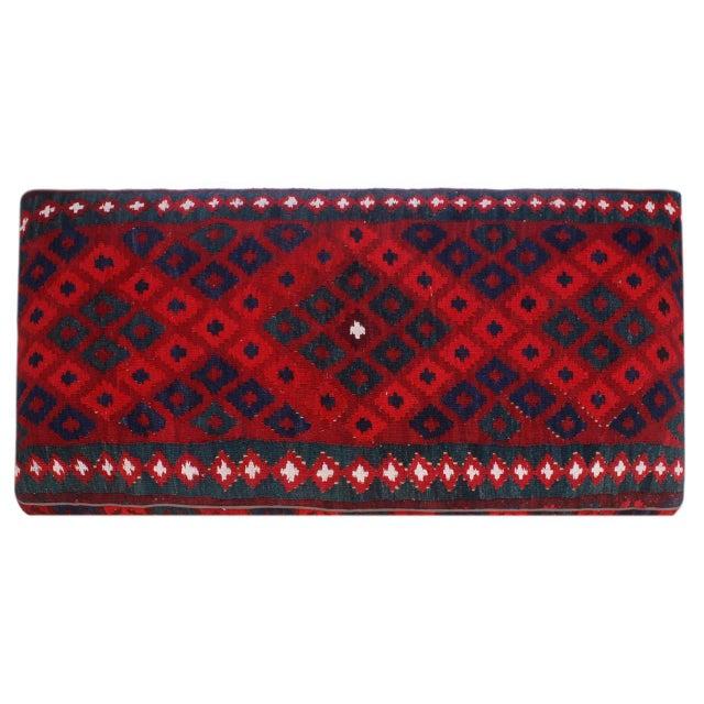 Doris Drk. Red/Red Handmade Kilim Upholstered Settee For Sale In New York - Image 6 of 8