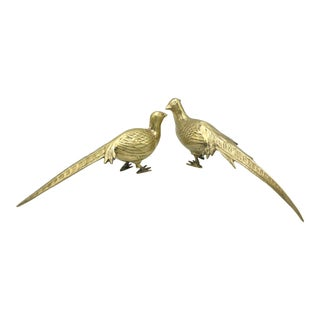 Mid Century Brass Pheasants - a Pair For Sale