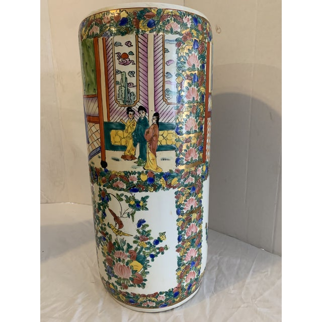 Bright coloring highlights this walking stick and umbrella stand from China made for the English market. Hand painting...