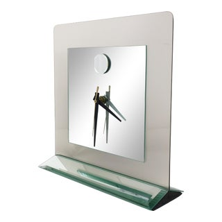 1980s Smoked Glass and Mirror Clock For Sale
