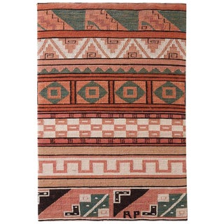North American Woven Geometric Textile Mounted Panel For Sale