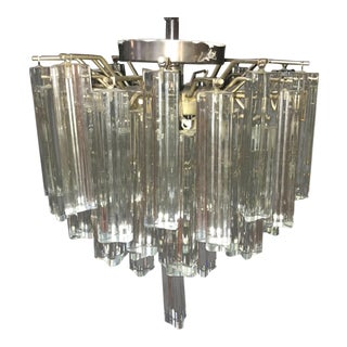 1960s Mid Century Modern Venini Murano Glass Prism Chandelier For Sale
