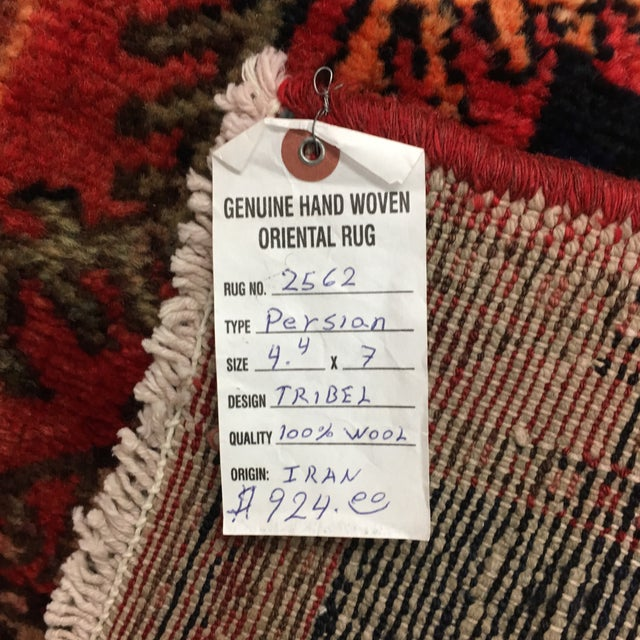 Textile Hand Woven Wool Persian Rug - 4′3″ × 7′ For Sale - Image 7 of 7