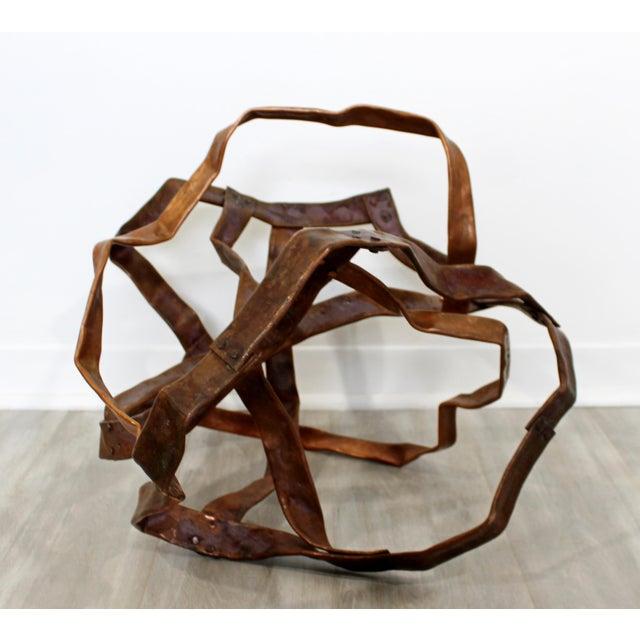 Copper Contemporary Forged Copper Abstract Table Floor Sculpture Signed Hansen 2019 For Sale - Image 8 of 8