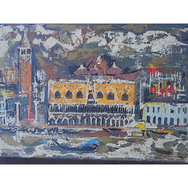 """Vintage Mid Century Original Expressionist Oil On Canvas-""""Venice"""" Cityscape-Framed - Image 2 of 7"""