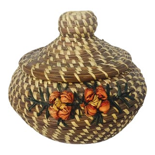 Vintage Native American Style Pine Needle Basket With Lid Coushatta Tribe For Sale