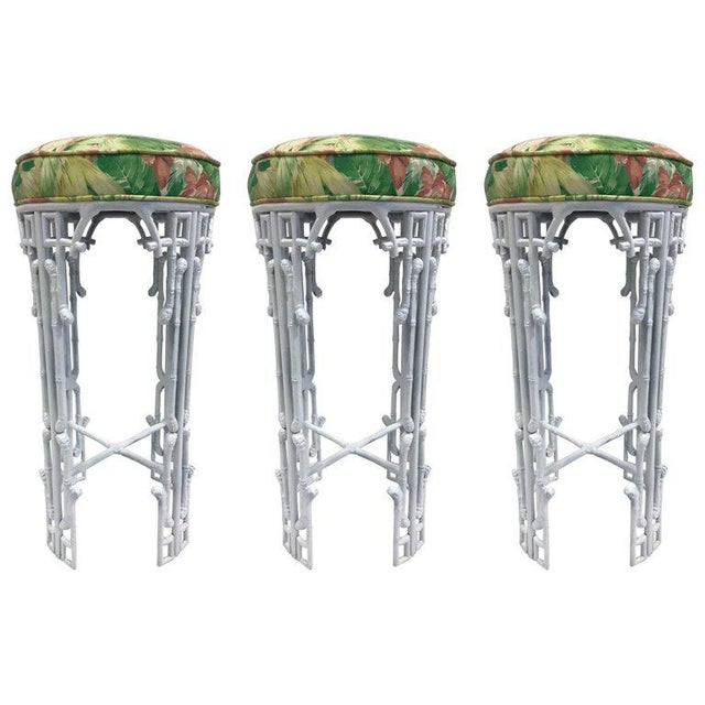 1970s Three Hollywood Regency Faux Bamboo Bar Stools For Sale - Image 5 of 5
