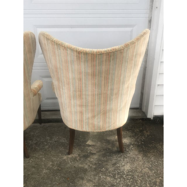 Fabric Mid-Century Modern Rainbow Velveteen Wingback Chairs - a Pair For Sale - Image 7 of 13