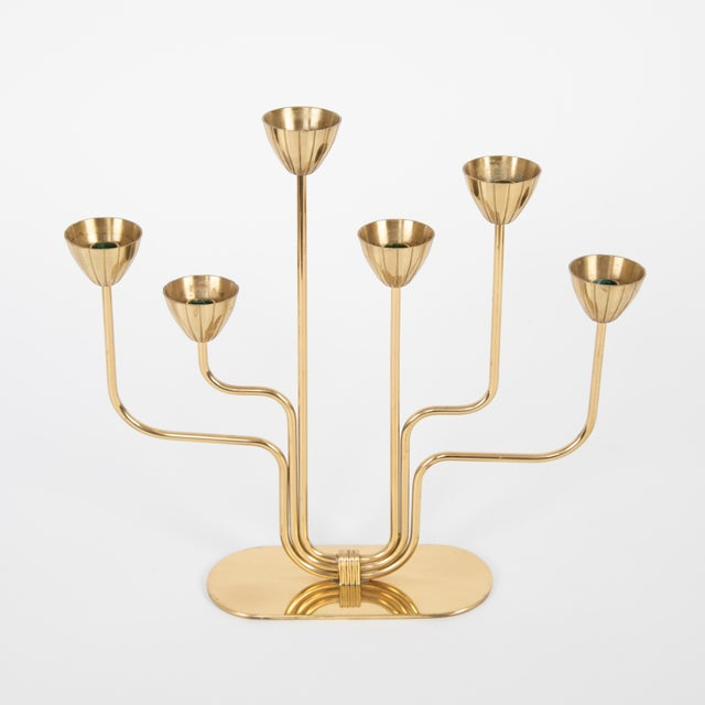 Gold Gunnar Andersen for Ystad-Metall Candelabrum in Brass, Circa 1960s For Sale - Image 8 of 11