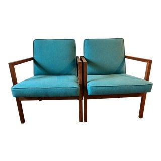 Mid Century Modern Stow Davis Turquoise Walnut Arm Lounge Chairs - a Pair For Sale