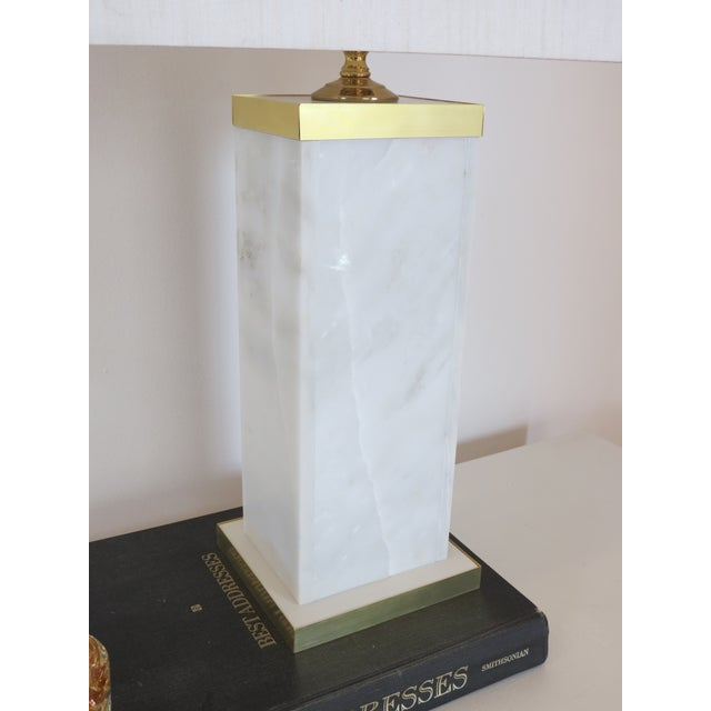 Custom Marble and Brass Lamp by C. Damien Fox - Image 8 of 9