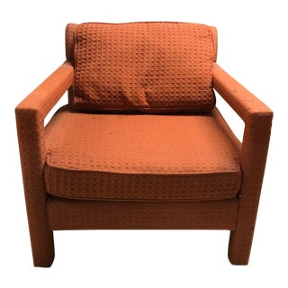 1970s Mid-Century Modern Milo Baughman Style Parsons Upholstered Lounge Chair For Sale