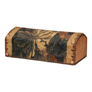 Decorative Bombe Jewelry Box With 18th Century Aubusson Tapestry Signed J. Lamy For Sale