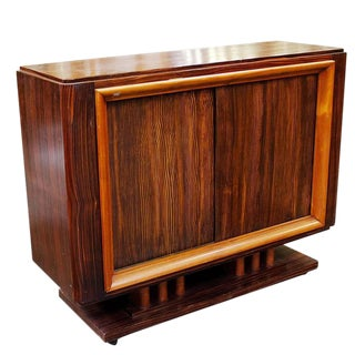 Geometric Art Deco Macassar Ebony Credenza with Combed Wood Doors For Sale