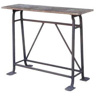 1900s French Tall Iron and Wood Industrial Console