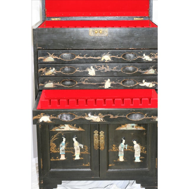Antique Chinese Black Lacquer Pictorial China Cabinet - Image 4 of 10
