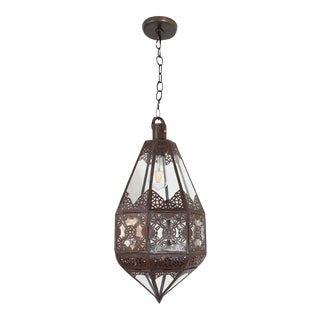 Moroccan Moorish Metal and Glass Lantern For Sale