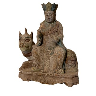 Carved Asian Diety Atop Animal For Sale