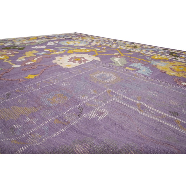 Geometric Oushak High and Low Texture Rug- 10′5″ × 13′2″ For Sale - Image 9 of 10