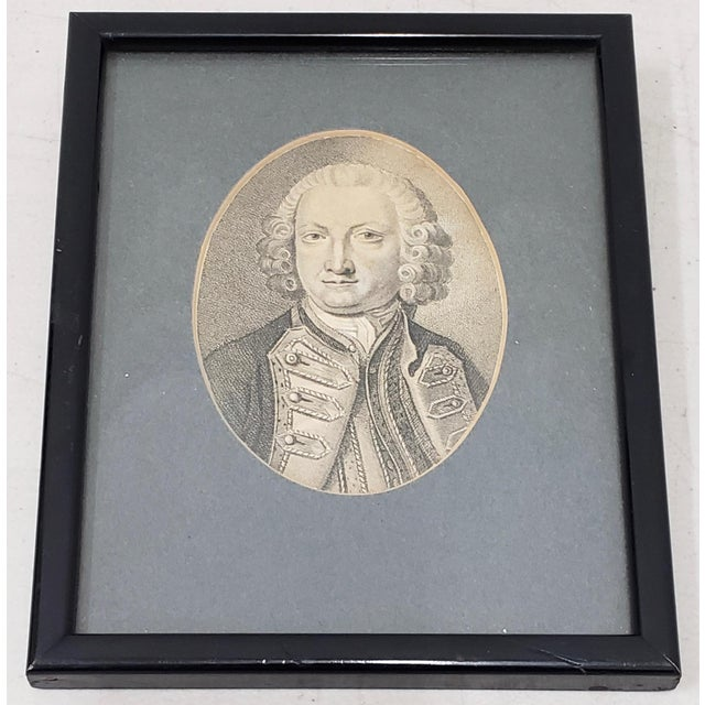 Mid 19th Century Lord Anson First Lord of the Admiralty Miniature Portrait Engraving 18th to 19th C. For Sale - Image 5 of 5