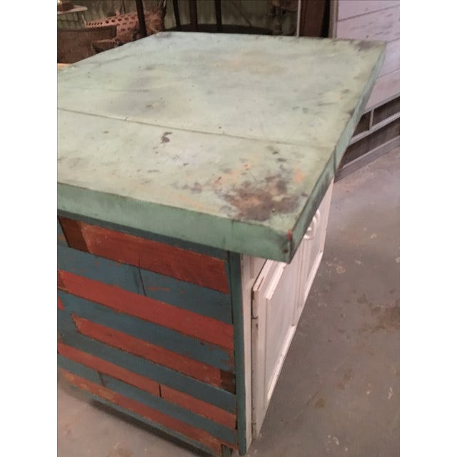 Vintage Copper Top Chippy Wood Cabinet - Image 3 of 6