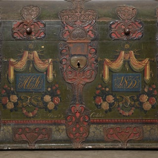 Danish Original Painted Dowry Chest Circa 1835 Preview