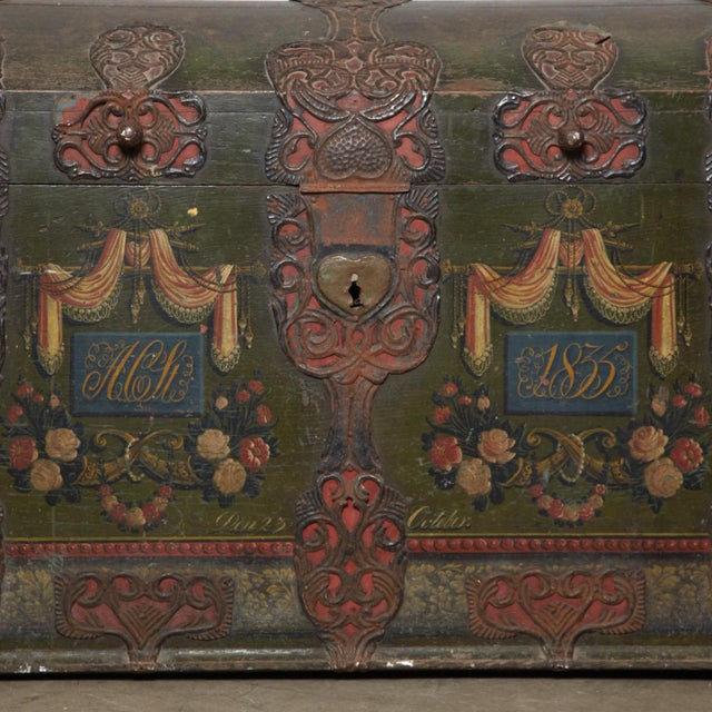 A dated, signed, inscribed 1835 incredibly detailed original painted dowry chest. This large and impressive chest even...