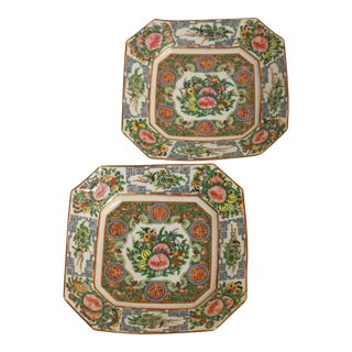 Square Rose Canton Plates, Late Qing For Sale