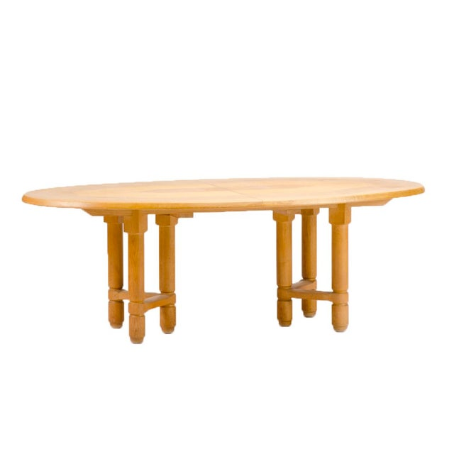 1960s 1960s Guillerme Et Chambron Solid Oak Extendable Dining Room Table For Sale - Image 5 of 5