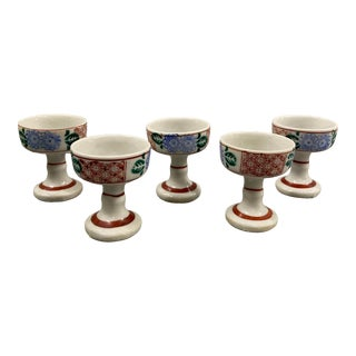 Vintage Japanese Footed Saki Glasses - Set of 5 For Sale
