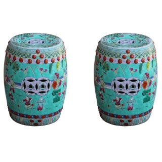 Pair Chinese Porcelain Turquoise Blue Kids Theme Scenery Round Stools For Sale