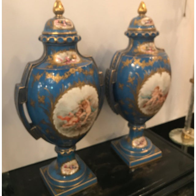 A Pair of Antique French Hand Painted Porcelain Mantle Urns For Sale - Image 4 of 13
