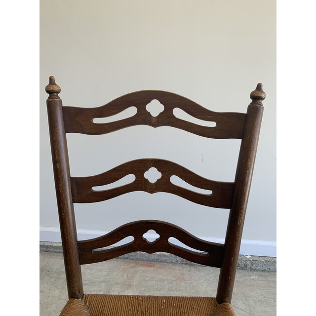 Turn of the Century French Country Carved Pierced design ladder back chair with rush seat. Very solid and sturdy. I...