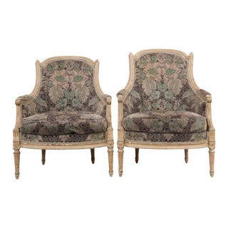 French 19th Century Louis XVI-Style Pair of Painted Bergères For Sale