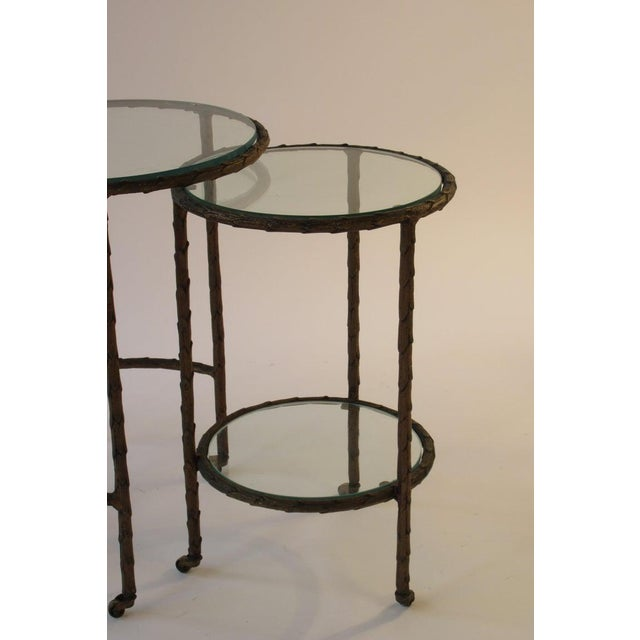 1950s Baguès Bronze Circular Nesting Tables For Sale In New York - Image 6 of 13