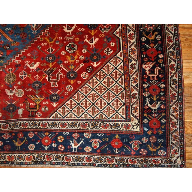 1870s Hand Made Antique Collectible Persian Khamseh Rug 6.4' X 9.9' For Sale - Image 4 of 10