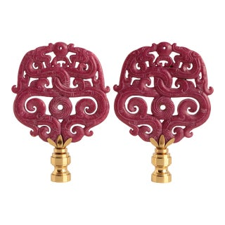 Laced Dragon Carved Stone Lamp Finials - a Pair For Sale