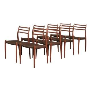 Stunning Set of Eight Niels O Møller Model 78 Dining Chairs, Denmark, 1960s For Sale