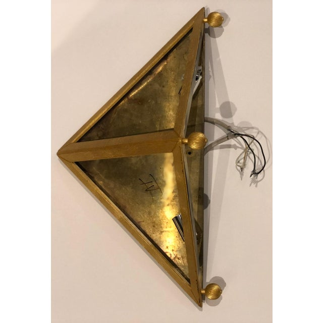 Metal Gilt Bronze Triangular Sconces - Set of 4 For Sale - Image 7 of 11