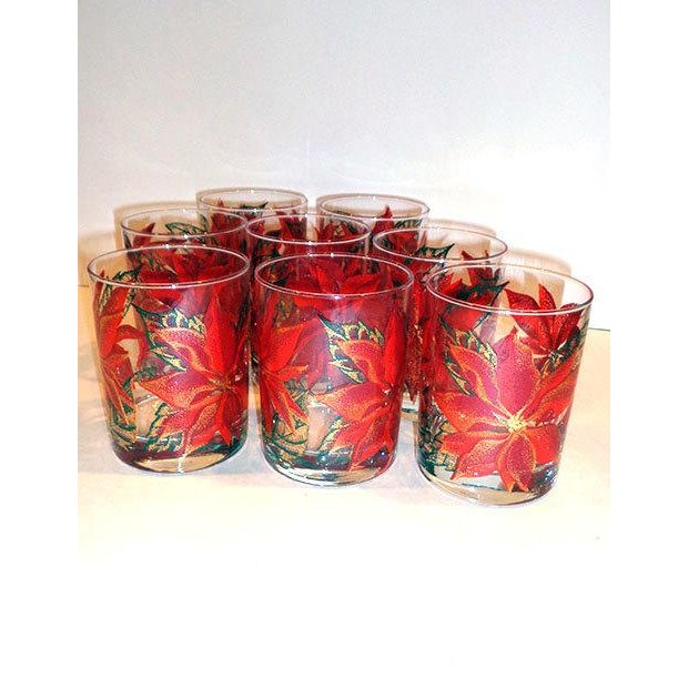 Culver Poinsettia Old Fashioned Glasses - Set of 8 - Image 2 of 4