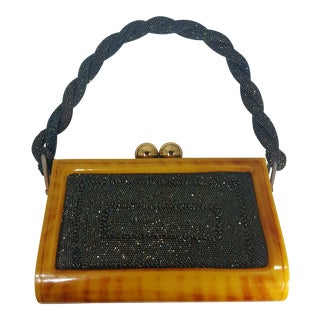 Early 1950s Vintage Carnival and Beaded Lucite Handbag For Sale