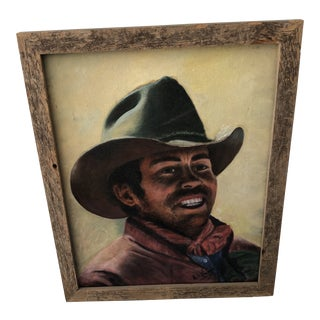 Original Mid Century Cowboy Oil Painting in Rustic Frame For Sale