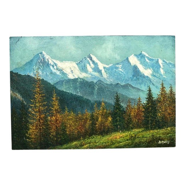 Mid 20th Century Mountain Landscape Oil Painting For Sale