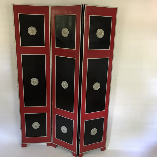 Hollywood Regency Red Lacquer Room Divider For Sale - Image 13 of 13