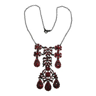 "Kenneth Jay Lane ""Let Them Eat Cake"" Red Rhinestones Necklace For Sale"