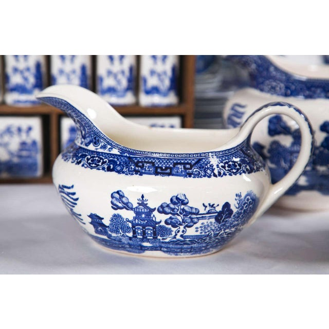 Vintage Collection of Blue and White Willow - Set of 40 For Sale - Image 9 of 12