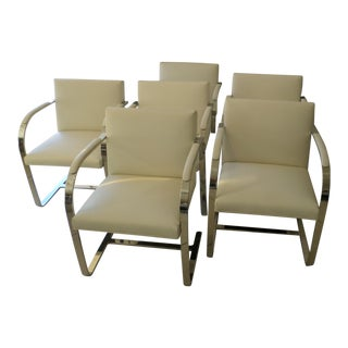 Brueton Stainless Steel and Leather Brno Chairs - Set of 6 For Sale