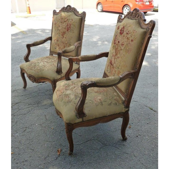 The School of Paris 20th Century French Petit Point Needlepoint Seat Bergere Chairs - a Pair For Sale - Image 3 of 13