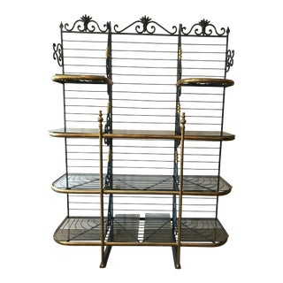 1940s French Brass and Iron Baker's Rack For Sale